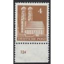 Mi. Nr 74 vom Unterrand postfrisch mit Plattennummer 124