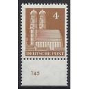 Mi. Nr 74 vom Unterrand postfrisch mit Plattennummer 145.