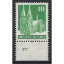 Mi. Nr 80 vom Unterrand postfrisch mit Plattennummer 277