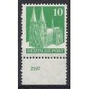 Mi. Nr 80 vom Unterrand postfrisch mit Plattennummer 2107