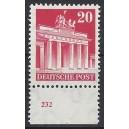 Mi. Nr 85 vom Unterrand postfrisch mit Plattennummer 232