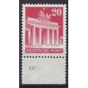 Mi. Nr 85 vom Unterrand postfrisch mit Plattennummer 237