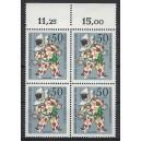 Mi. Nr 376 Oberrandviererblock postfrisch mit Wohlfahrtszähnung