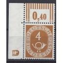 Mi. Nr. 124 Eckrandstück links oben mit Druckerzeichen negativ 4