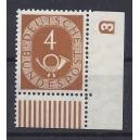 Mi. Nr. 124 Eckrandstück rechts unten mit Druckerzeichen negativ 3