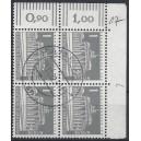 Mi. Nr. 140 y im Eckrandviererblock rechts oben mit Dz 7 gestempelt mit Beschriftung