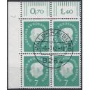 Mi. Nr. 182 Eckrandvierer links oben mit Dz 7 zentrisch gestempelt