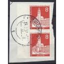 Mi. Nr. 187 Paar mit Bogenlaufnummer gestempelt auf Briefstück