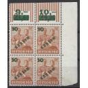 Mi. Nr. 65 Viererblock im Eckrand rechts oben postfrisch