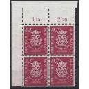 Mi. Nr. 122 Eckrandviererblock links oben mit Bc-Zähnung
